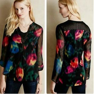 Anthropologie • Tiny Watercolor Tulipano Blouse